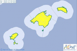 Baleares, en alerta amarilla por chubascos fuertes