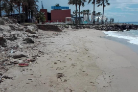 Acumulación de basura en la playa de Can Pere Antoni