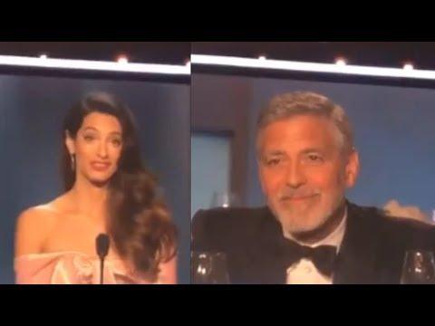 George Clooney llora con el discurso de su esposa Amal
