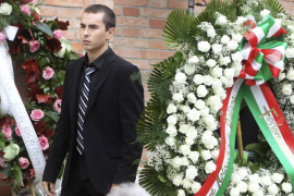 Yamaha MotoGP rider Lorenzo of Spain arrives to attend the funeral service of Honda MotoGP rider Simoncelli in Coriano