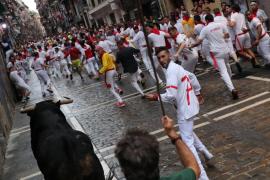 Peligroso primer encierro de San Fermín 2018 con un herido por asta
