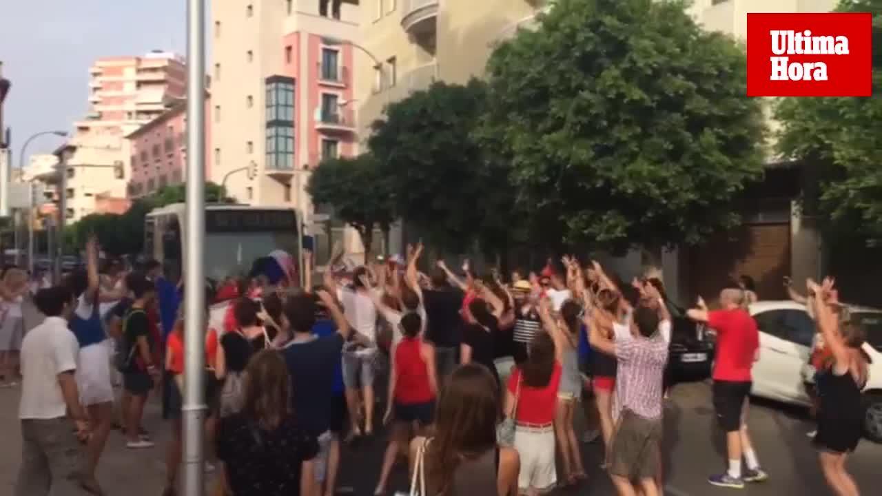 Aficionados franceses celebran en Palma el triunfo de su selección