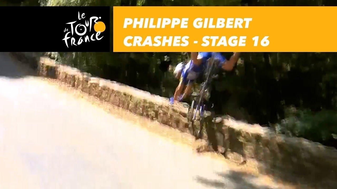 Philippe Gilbert sufre una espectacular caída en el descenso del Aspet