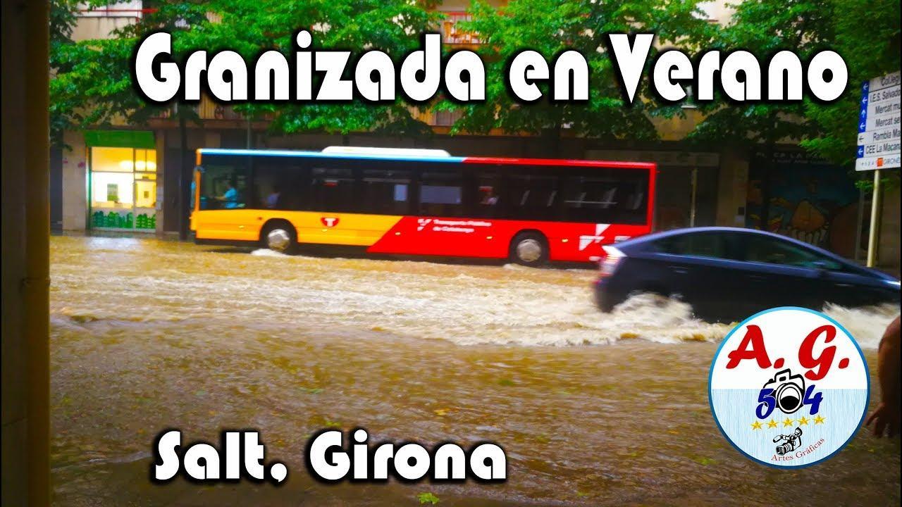 Una fuerte granizada sorprende a los habitantes de Girona