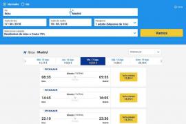 La web de Ryanair ya permite aplicar el descuento del 75% para residentes