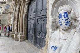 El grafiti en la Catedral de Santiago podrá ser eliminado en horas mediante láser