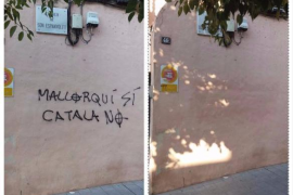Retiran la pintada anticatalanista en la fachada del colegio Mata de Jonc