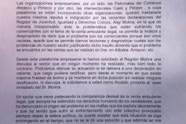 Las patronales del comercio piden el cese de Aligi Molina