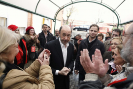 Prime ministerial candidate Rubalcaba of the Spanish Socialist Workers' Party receives applause from his supporters after voting