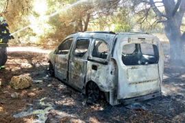Susto en Cala Nau por el incendio de un coche junto a un pinar