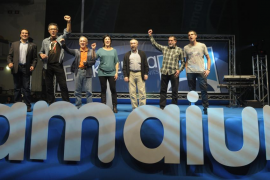 Pro Basque independence coalition Amaiur celebrate their results in Spain's general elections in Pamplona