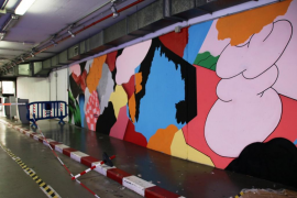 Mural de Grip Face en un aparcamiento de Palma