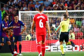 El Barcelona recurrirá la tarjeta roja mostrada a Lenglet ante el Girona