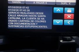 Una clienta se deja en un taxi de Palma una cartera con droga