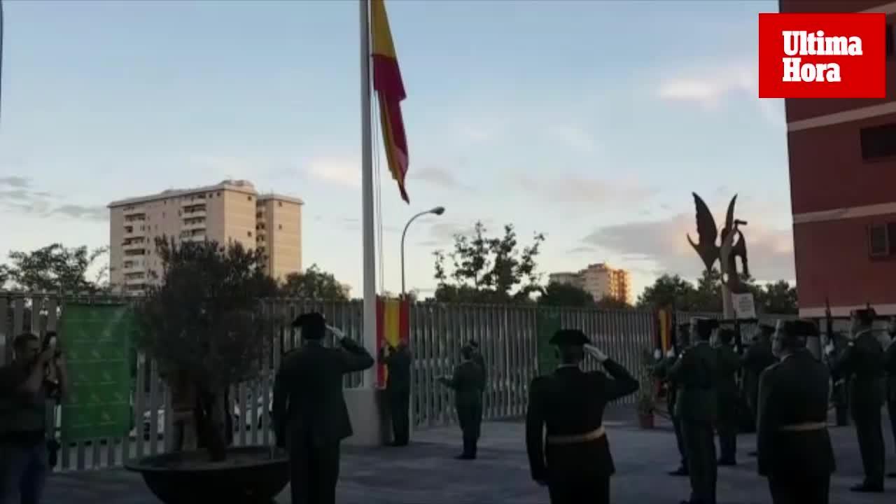 La despedida del coronel Jaime Barceló, protagonista del acto de la patrona de la Guardia Civil en Palma