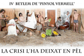 La agrupación Pinyol Vermell de Campos monta un 'belén desnudo' frente al recorte de ayudas