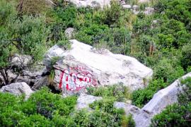 La limpieza de las pintadas y grafitis de vándalos en la Serra de Tramuntana cuesta ya 18.000 euros