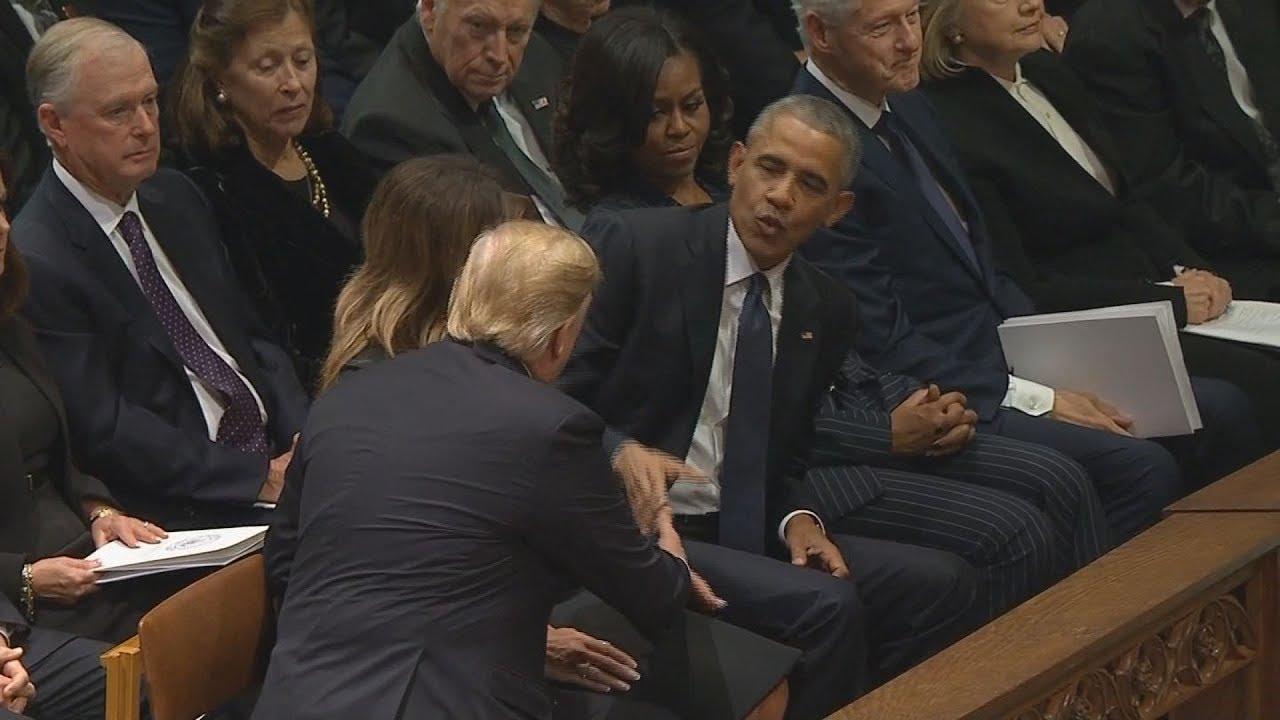 El tenso momento entre Trump, Obama y Clinton en el funeral de Bush