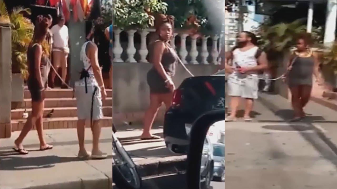 Un hombre pasea a su mujer como si fuese un perro