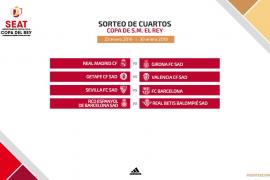 Real Madrid-Girona, Sevilla-Barça, en cuartos de final de la Copa