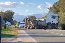 Aparatoso accidente en la carretera Inca-Manacor
