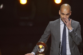 FIFA World Coach of the Year for Men's Football award winner Guardiola of Spain speaks during the FIFA Ballon d'Or 2011 soccer a