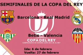 Barça y Real Madrid se medirán en semifinales de la Copa del Rey