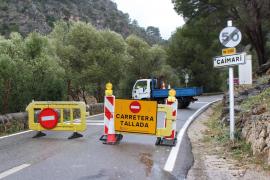 El tramo desprendido de la carretera Caimari-Lluc tenía 20 metros de largo