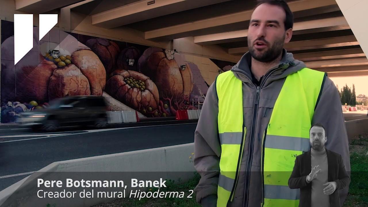El artista Banek crea un mural en el puente de la carretera de Marratxí a Sa Pobla