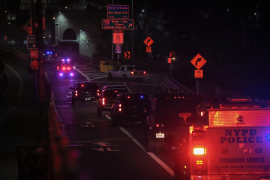 "A convoy of law enforcement vehicles transporting Joaquin Guzman, the Mexican drug lord known as ""El Chapo"", crosses the Brookly"
