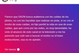 La madre de Luis Salom, molesta con una promoción del Mundial