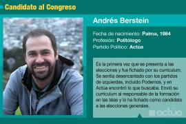 Andrés Bernstein es el candidato de Actúa al Congreso en Baleares