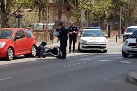 Colisión entre una motocicleta, un coche y una furgoneta en Palma