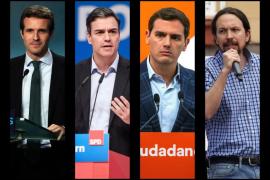 Pablo Casado, Pedro Sánchez, Albert Rivera y Pablo Iglesias