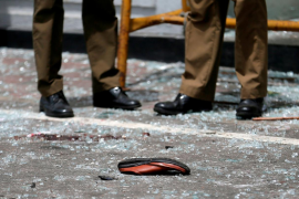A shoe of a victim is seen in front of the St. Anthony's Shrine, Kochchikade church after an explosion in Colombo