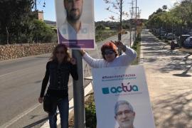 Miembros de Actúa han pegado carteles de sus candidatos