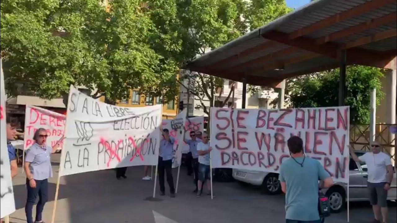 Concentración en Palma de transportistas por no poder operar en Son Sant Joan