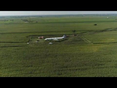 Un avión aterriza de emergencia en un campo de maíz