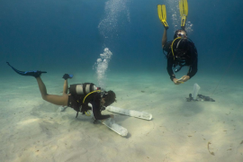 El hallazgo de sables del siglo XIX en aguas de Formentera, en imágenes