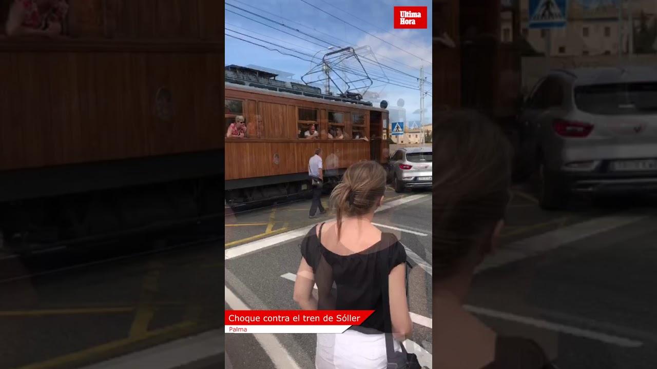 Un coche choca contra el tren de Sóller frente a Son Hugo