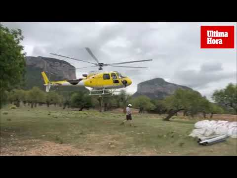 Trasladan al Castell d'Alaró cuatro depósitos para recoger 20.000 litros de agua de lluvia