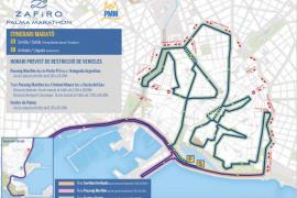 Estas son las restricciones de tráfico debido a la Zafiro Palma Marathon