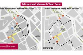 Cortes de tráfico en la calle Tous i Ferrer de Palma