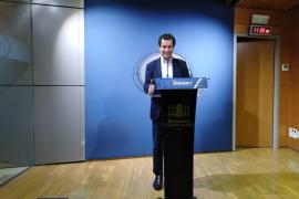El portavoz del PP en el Parlament de Baleares, Biel Company, en rueda de prensa.