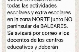 Difunden un falso mensaje de WhatsApp avisando de que se suspenden las clases en Mallorca