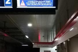 Una avería en el sistema eléctrico deja el metro a la UIB sin servicio