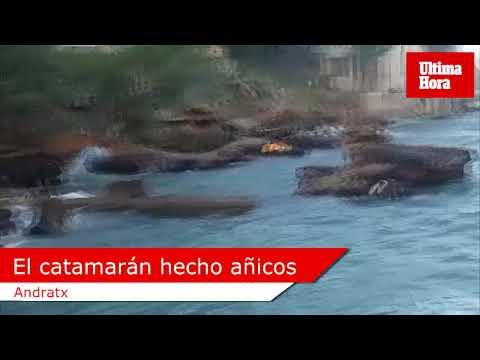 El catamarán accidentado en el Port d'Andratx se hace añicos