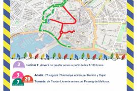 Cartel informativo de la EMT sobre los cortes de tráfico