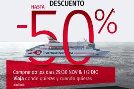 Trasmediterránea lanza descuentos de hasta el 50% por el Black Friday