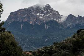 Nieve en la zona del Puig Major en Mallorca